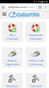 Layout responsivo da área do cliente.
