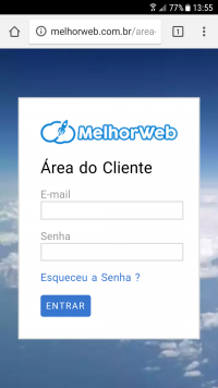 Login da área do cliente.