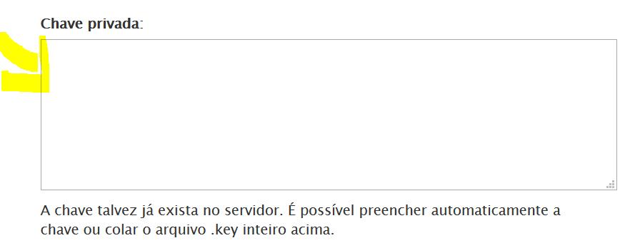 Cole o código da chave privada ou private key.